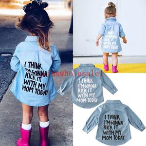 2-7Y autunno del bambino bambini della neonata Camicie Top Denim Abbigliamento Lettera Stampa manica lunga camicia cappotto caldo Camicia
