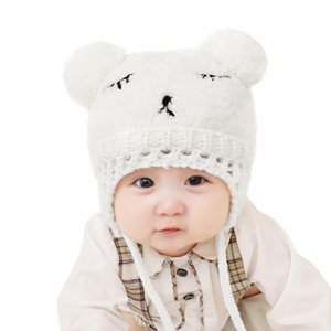 0-3Y Baby Kids Cute Embroidered Knitted Cap Close Knitting and Meticulous Weaving Pompom Fleece Thickened Beanie Hat