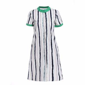 2020 Summer Euramerican Style Women Short Sleeves T shirt Pencil Dress Fashion Stripe Print Bodycon Slim Ladies Bodycon Dresses