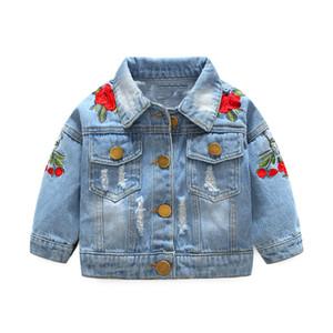 LILIGIRL niñas bebés Denim Jeans abrigos chaquetas para la muchacha del niño del dril de algodón chaquetas infantil Escudo Jean Rose del florista de bordado