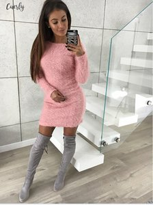 Winter Warm Fashion Sexy Women Long Sleeve Cashmere Bodycon Dress Sweater Elegant Womens Sheath Sweaters Mini Dress Knitwears