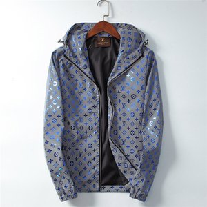 Luxes Brand Design G Veste Laser réfléchissant Imprimer coupe-vent à capuche Image lumineux coloré Vêtements Vestes d'homme Y89