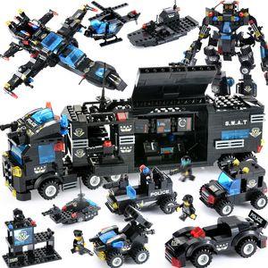 725PCS City Police Series Blocks 8 in 1 veicolo auto elicottero stazione di polizia compatibile LegoINGly Building Blocks Mattoni fai da te