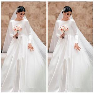 Mangas compridas de Cetim Elegante A Linha de Vestidos de Noiva 2019 Modest Personalizado Longo De Noiva Vestidos Formais Robe De Mariee Largo