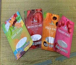 Pura gélifiés Gummy Mylar Candy Bag Plastic Top Zipper Airtight sans odeurs Comestibles détail Sacs d'emballage de l'emballage