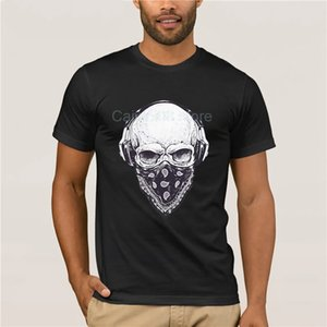 Hot men's fun casual print T-shirt Skull Headphones Sleeve Tee Fashion summer T-shirt