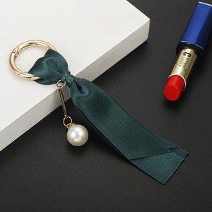 Main De Mode Femmes Sac Bijoux Pendentif Clé De Voiture Anneau perles amovible Coréenne Ruban DIY Accessoires soie Porte-clés Cadeau