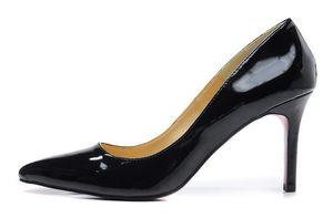 Mode Frauen Schuhe High Heels 8 cm Designer Leder Bottoms Schwarz Spitz Zehen Schuh Für Damen Pumps Online Top Qualität
