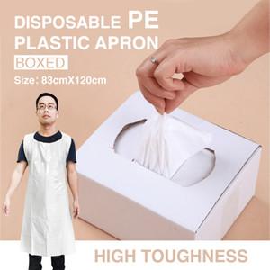 UPS / DHL Thicken84x120cm monouso PE grembiule di plastica senza maniche anti-inquinamento piatto caldo a prova di olio impermeabile pettorale ispessito trasparente