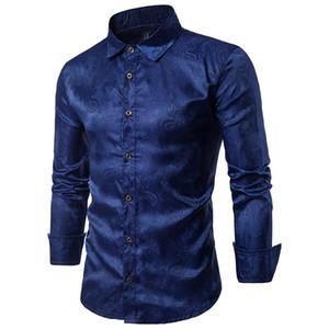 YOUYEDIAN мужская мода повседневная рубашки печати Национальный мандарин воротник Осень Зима кнопка рубашка с длинным рукавом camisa masculina