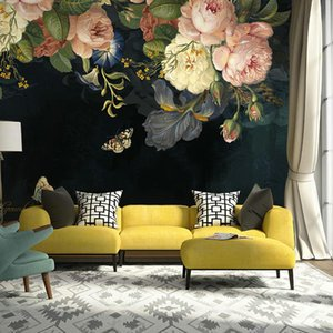 Bacal Custom 3D Wallpaper Silk Cloth Waterproof Canvas Murals Wall Painting Pastoral Floral Flower Oil Painting Black Wall paper