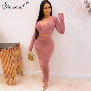 Simenual Cozy Teddy Bear Shaggy Co-ord Sets Women Warm Fashion Solid Bodycon Two Piece Outfits Long Sleeve Top And Skirt Set New Y200110