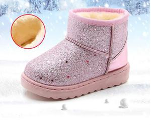 Ragazze Snow Boots inverno caldo piatto punta rotonda per bambini Scarpe per bambini molle del bambino Stivali Rosa Nero Taglia 25-36
