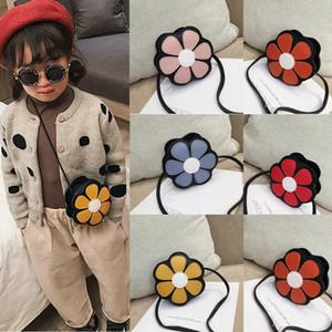 Nueva Pretty Kids Baby Girls Fashion PU cuero bandolera encantadora flor Messenger bolso Crossbody monedero