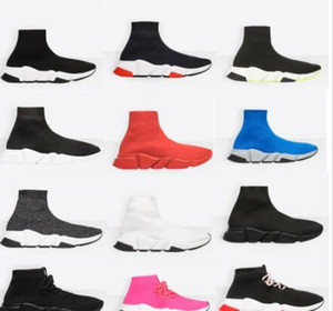 NEW designer shoes Speed Sock Sneakers Stretch Mesh High Top Boots for mens womens black white red glitter Runner Flat Trainers eur35-46