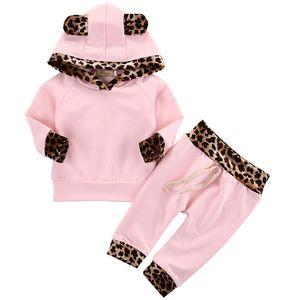 Baby Girls Rose Vêtements Ensemble Léopard Print Sweat à capuche Toile Toddler Housses à manches longues + Pantalon 2 Pcs Ensemble Vêtements Enfants Designer Vêtements M373