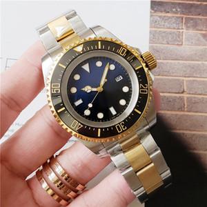 Mens Watch profunda Ceramic Bezel Sea-Dweller Sapphire Cystal aço inoxidável com Glide bloqueio Fecho mecânico automático mens relógios