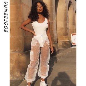 BOOFEENAA Organza malha Sheer Sexy calças cargo Mulheres Verão Corredores de Streetwear cintura alta Calças Dança Sweatpants C98-AB12 T200606
