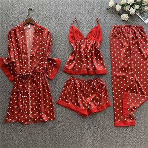 Spring & Summer New Ladies Pajamas Set Dot Printed Soft Ice-Silk 4Pcs Women Sexy V-Neck Robes Full Sleeve Thin Satin Homewar