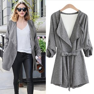 2018 Autumn Winter Fashion Loose Linen Trench Coat For Women Windbreaker Turn-Down Collar Belt Slim Long Trench