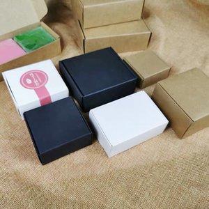 50 PC / porción de múltiples tamaños de cajas de papel Kraft Brown DIY regalo paquete de la caja plegable papercard Cajas para la boda de Navidad Decoración T200619