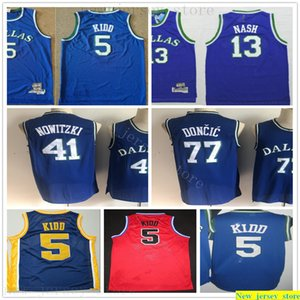 Retro Basketball Luka Dirk 77 Doncic 41 Nowitzki Jerseys Best Quality Stitched Jason Steve 5 Kidd 13 Nash Jerseys College Blue Red for Man