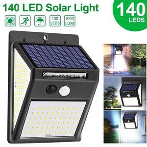 (140) LED 태양 광 조명 벽 램프 3 모드 인체 센서 방수 긴급 에너지 절약 야외 정원 마당 램프 새로운