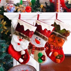 Santa Snowman Gift Holders Bolsa de almacenamiento Colgante Árbol de Navidad Decoración del hogar Medias de Año Nuevo Calcetines Adorno Decoración de Navidad 62721
