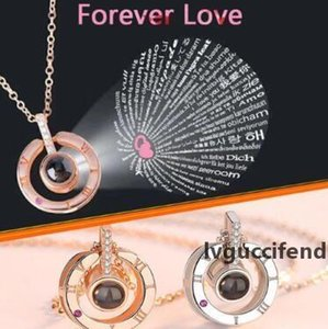 4 Styles 100 Languages I Love You Pendant Necklaces Projection Necklace Wedding Gift Valentine s Day Gifts Party Favor CCA11154 100pcs