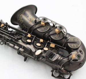 Guantes tallado mano Flores Negro niquelado Saxofón Alto Latón Música Instrumentos Eb Tune Sax Con boquilla y un estuche