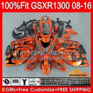 Injection Pour SUZUKI Hayabusa orange noir GSXR1300 08 09 10 11 12 13 25HC.14 GSX-R1300 GSXR 1300 2008 2009 2010 2011 2012 2013 Carénage OEM