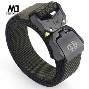 MEDYLA men's elastic tactical belt elastic fiber hard metal quick release buckle army belt outdoor sports
