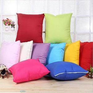 45 * 45CM Início Sofá Lance Pillowcase Pure Color Polyester Branco fronha capa de almofada fronha Decor em branco natal decoração EEA1773