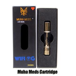 Cartuccia Meds Muha diretta resina Carrelli 0.8ml 1.0ML Oro Serbatoio olio di ceramica di spessore della bobina atomizzatore per 510 Batteria 10 Sticker DHL
