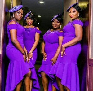 Modern Purple Plus Size Bridesmaid Dresses High Low 2020 African Wedding Guest Dress Gowns Maid of Honor