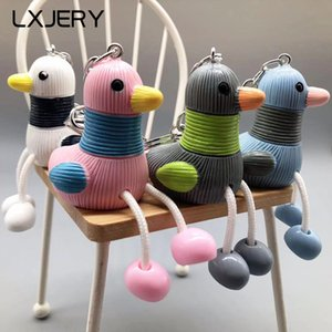 LXJERY 4 цвета Симпатичный мультфильм Висячие ноги утки брелок Прекрасный брелок для женщин Сумка Шарм Подвеска Key Ring подарки ювелирные изделия