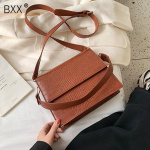 [BXX] Solid Color PU Sacs Crossbody cuir pour les femmes 2019 Motif de pierre épaule Messenger Bag Lady Sacs à main Voyage Totes A309
