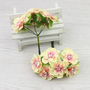 Düğün DIY Dekoratif Çelenk Scrapbooking Sahte Çiçek 60pcs / lot için 4cm İpek Yapay elmas Mini Kiraz Yapay Gül Çiçek