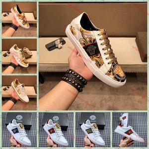 Versace casual shoes zapatos casuales de la moda de los hombres de marca, zapatillas de deporte del Bajo-Top xshfbcl de alta calidad, un conjunto completo de calzado original,