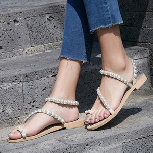 40-43 Big Yards Sandals Bohemian Pearl Europe Leather Shoes Xia Jiping Bottom Folder Toe Sandals Tide