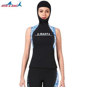 Gilet néoprène 3 mm capuche manches Veste Tops Shorts Jumpsuit pour la plongée Surf Voile Natation Minceur wetsuits entraînement