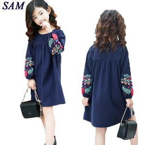 Girls cute embroidered long sleeves dress 2019 autumn new large children's cotton lantern sleeve doll dresses kids clothes CY200514