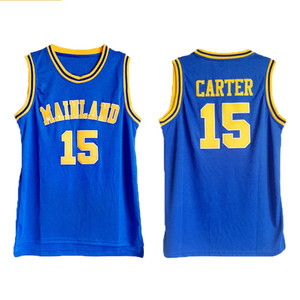15 Carter Jersey Männer Vince High School Florida Daytona Beach Festland Carter Basketball Trikots Blau