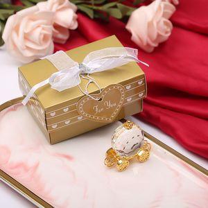 50PCS de cristal de Cenicienta Coche de la calabaza en la ducha de oro caja de regalo del bebé recién nacido favores de cristal del carro bautismo regalo SHPPING LIBRE