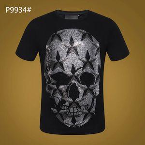 Verão T-Shirt de Manga Curta # 3021 Hip Hop Moda Masculina O Pescoço de Fitness Casual Magro Tops PP Crânios dos homens de Impressão de Algodão Streetwear T-shirt