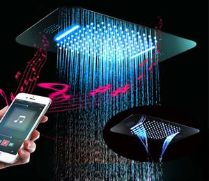 더블 강우량 폭포 LED 라이트 Showerheads 전력 304 스테인레스 스틸 380 * 580mm 샤워 헤드 비가 샤워 소나기