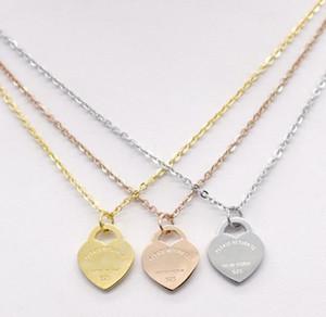 الرجال الفولاذ المقاوم للصدأ القلب قلادة المرأة T سلسلة مجوهرات 18k الذهب التيتانيوم الصلب القلب الخوخ قلادة قلادة
