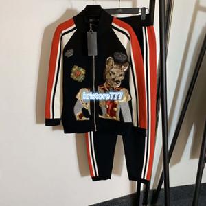 Женщины роскошный дизайн из двух частей брюки рубашки куртки+брюки брюки Брюки с собаками печати высокого класса девушки трикотаж джерси бег бисероплетение топы