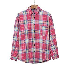 2020er plam icon Hochwertige hohe Auflage Plaid Shirt Palme englischen Alphabets Druck Revers lange Hülse Engel Shirt Herbst S-XL qwdzzndI0 #