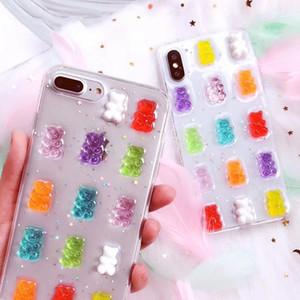 لآيفون x كفر حافظة 3D Gummy Bear Candy Soft Soft Cases لآيفون X 6 6S 7 8 Plus XS Max XR Glitter TPU Cove